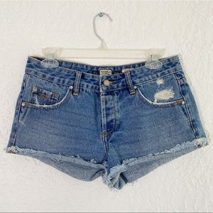 PULL & BEAR Distressed Button fly closure shorts